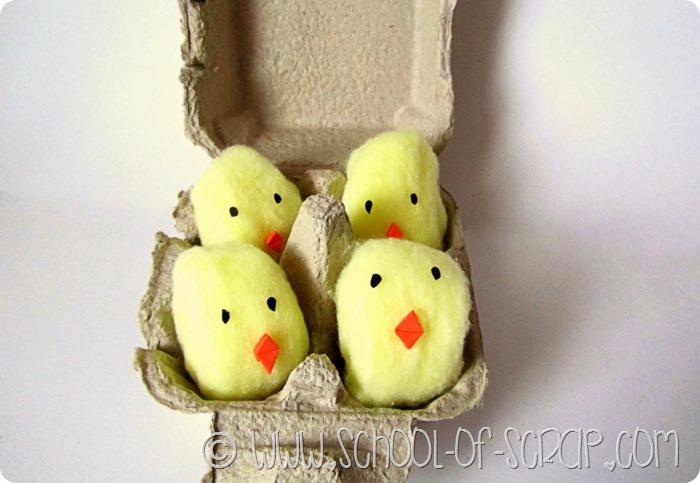 Lavoretti di Pasqua per bambini: pulcini di batuffoli di cotone