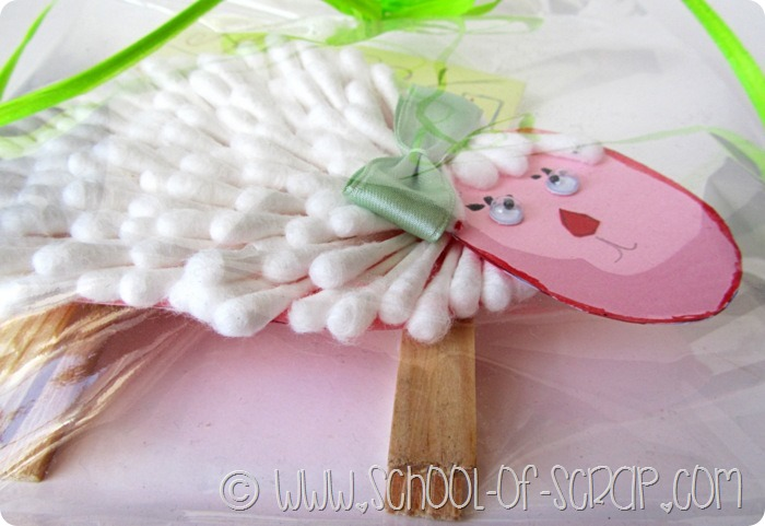 Lavoretti di Pasqua: la pecorella di Lapo fatta con i cotton fioc
