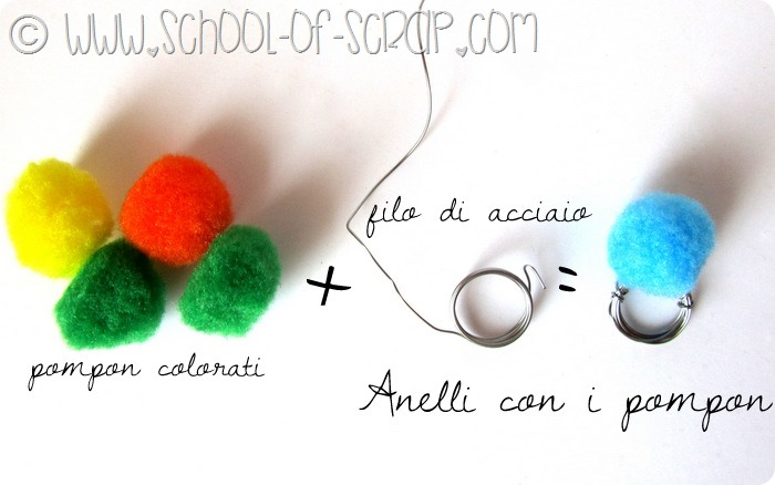 Acciaio e palline colorate: come fare l'anello con il pompon