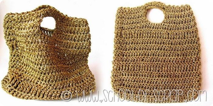 Serate estive fashion: Una borsa fatta all'uncinetto con il filato dorato di carta