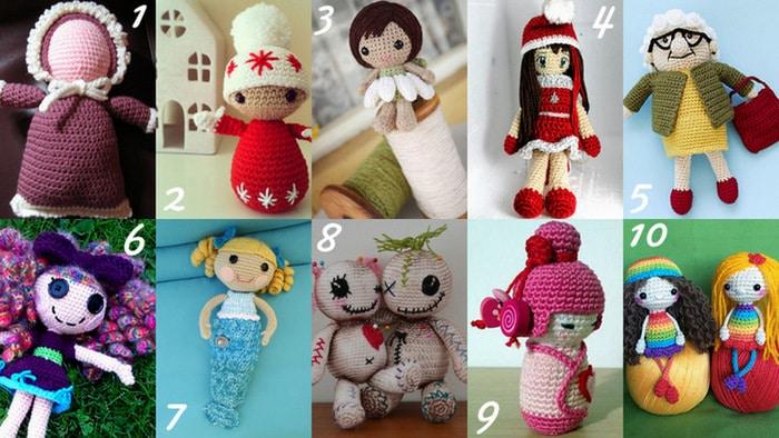 Raccolta di Idee: 10 progetti per fare bambole all'uncinetto, crochet doll