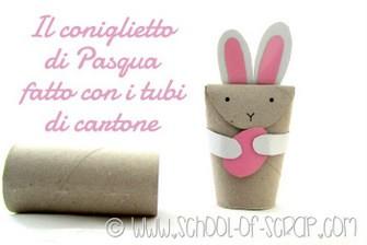 Lavoretti di Pasqua per bambini: il coniglietto fatto con i tubi di cartone