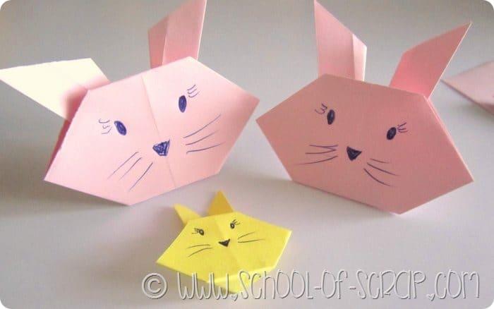 Lavoretti per bambini video come fare coniglietti e gattini origami