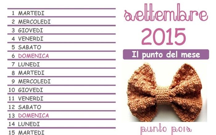 Calendario all'Uncinetto: è pronto il mese di settembre 2015