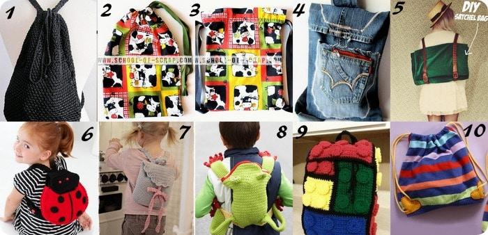 10 tutorial per fare sacche e zaini per la scuola