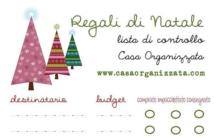 lista di controllo per i regali di Natale