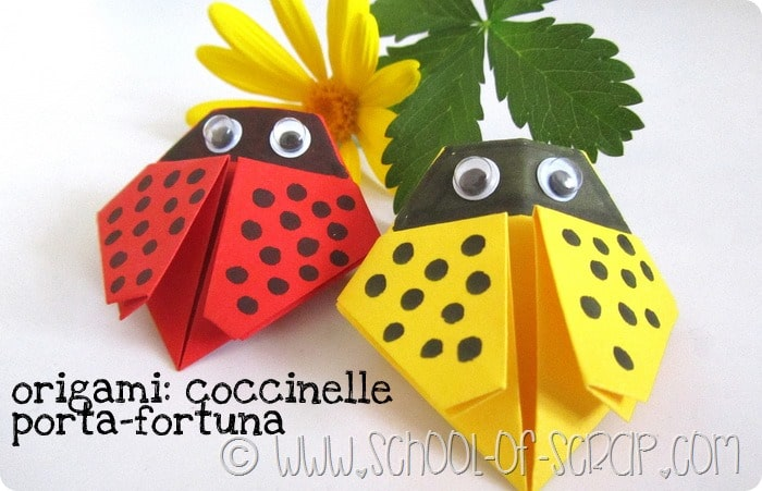 Origami per grandi e bambini: le coccinelle porta fortuna