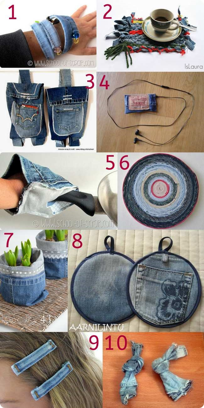 Raccolta di idee: 10 tutorial per riciclare i vecchi jeans