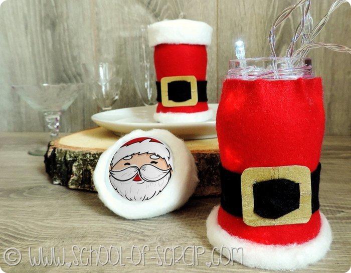 segnaposto per la tavola di Natale fatti riciclando i barattoli del sugo