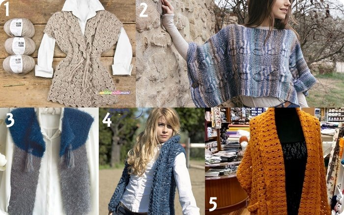 Raccolta di idee 10 progetti per fare gilet invernali a maglia e uncinetto