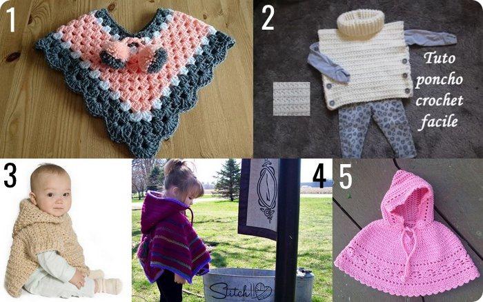10 poncho per bambini e neonati da fare a maglia o uncinetto #RaccoltadiIdee