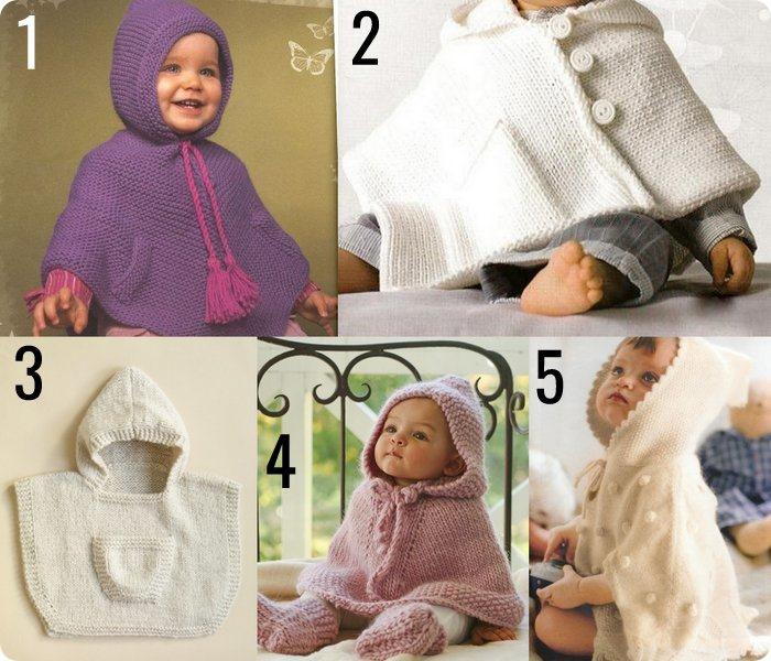 10 poncho per bambini e neonati da fare a maglia o uncinetto #RaccoltadiIdee_