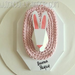 Decorazioni di pasqua: trofeo coniglio in cartoncino+crochet facile da fare