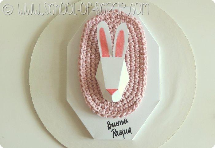Decorazioni di pasqua: trofeo coniglio con cartoncino+crochet facile da fare