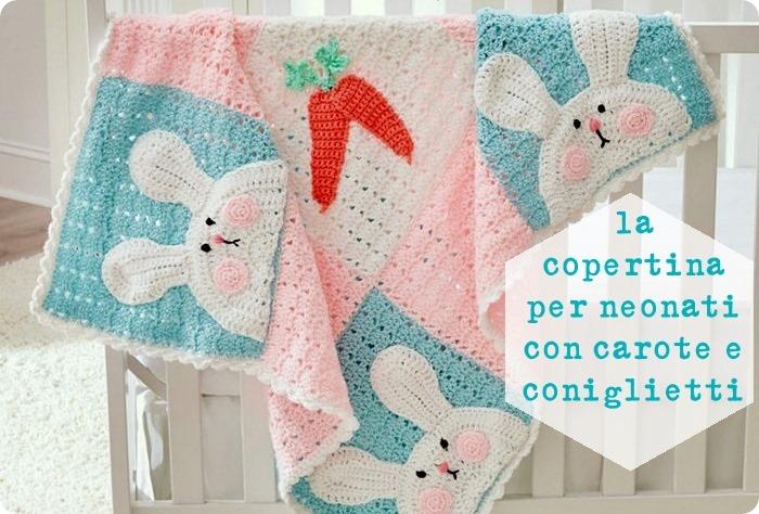 Schema gratis copertina per neonati all'uncinetto con carote e coniglietti