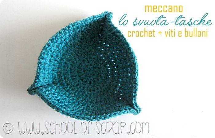 Scuola di Uncinetto: tutorial svuota tasche a crochet con viti e bulloni