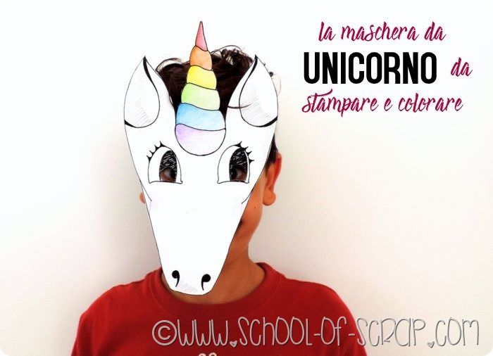 la maschera da unicorno da stampare e colorare_