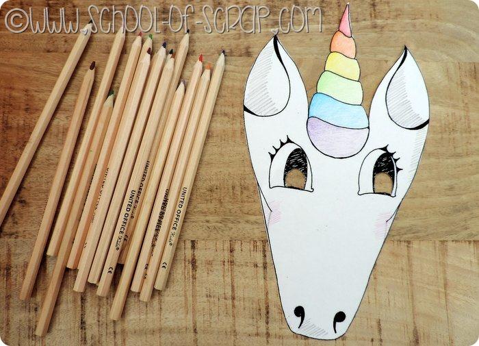 la maschera da unicorno da stampare e colorare