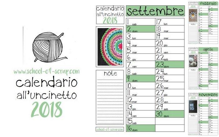Calendario all'uncinetto 2018 da scaricare e stampare