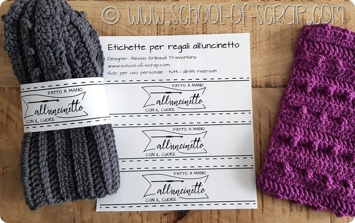 Etichette graris per regali fati a mano all'uncinetto - free printable