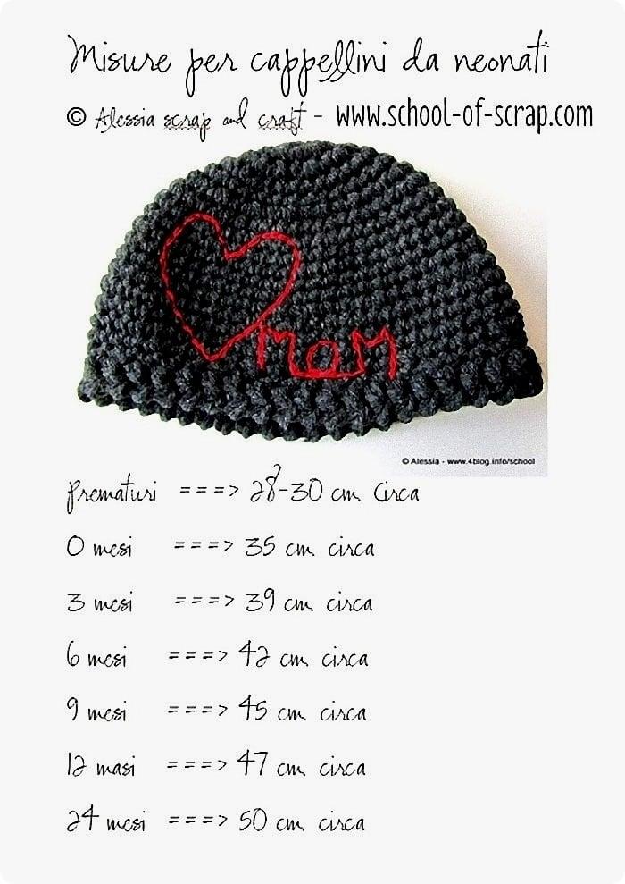 tutte le misure dei berrettini per neonati da 0 a 24 mesi