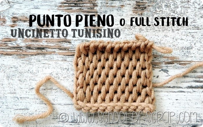 Uncinetto tunisino video tutorial Punto Pieno o Full Stitch