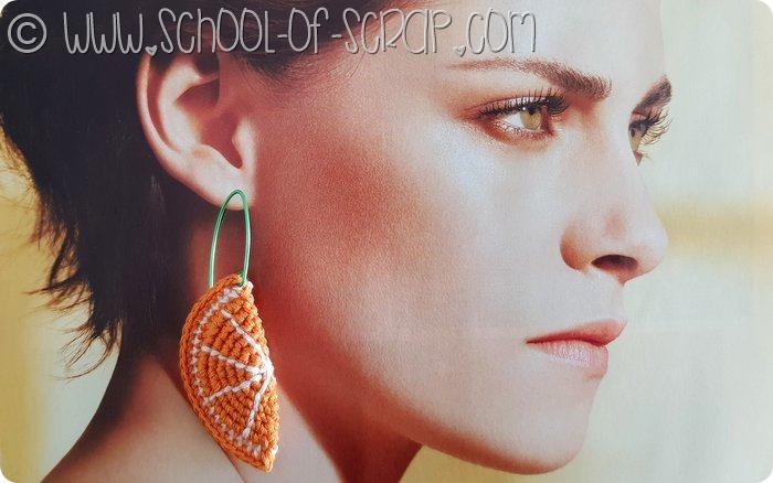 orecchini a uncinetto spicchio di arancia