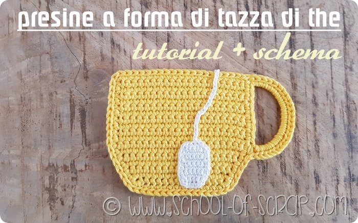 uncinetto presine a forma di tazza di the - tutorila e schema