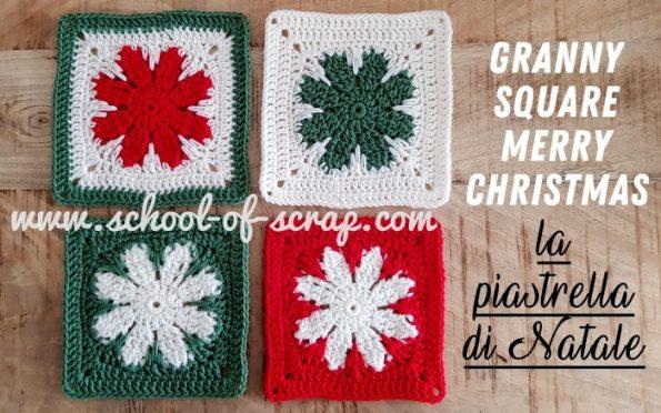 Uncinetto Per Natale Piastrella Granny Merry Christmas