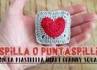 Idee uncinetto: spilla bijoux o puntaspilli con la piastrella granny con il cuore