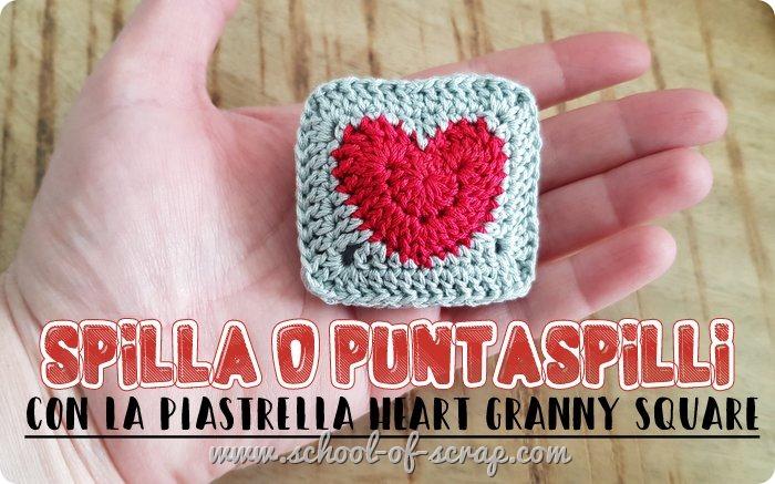 Idee uncinetto spilla bijoux o puntaspilli con la piastrella granny con il cuore