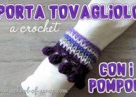 Uncinetto: portatovagliolo a crochet con il bordo pompon, facile facile