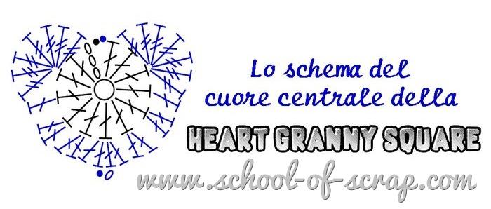schema del cuore centrale della granny con il cuore uncinetto