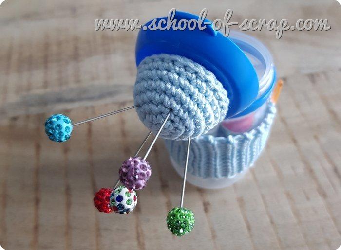 set cucito fatto con uncinetto e riciclo creativo
