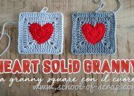 Uncinetto: piastrella granny con il cuore o heart solid granny square