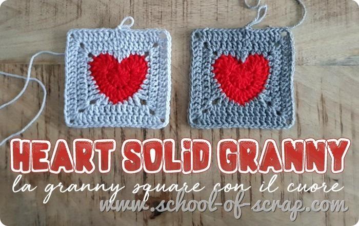 uncinetto piastrella granny con il cuore - heart solid granny square