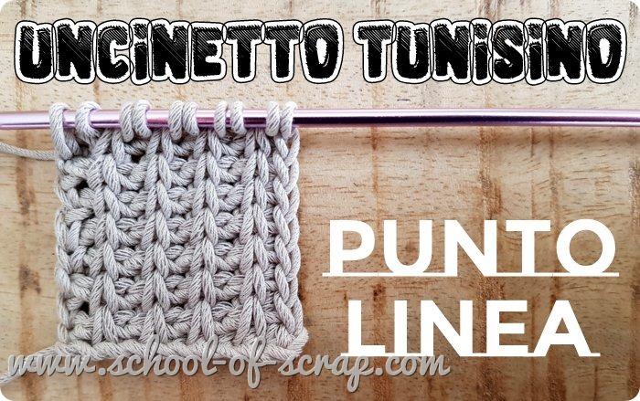 Uncinetto tunisino facile il Punto Linea (variante del punto di base)