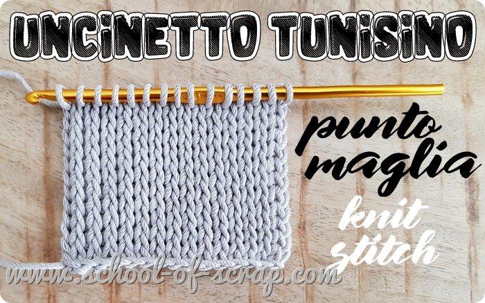 Uncinetto tunisino facile punto maglia knit stitch che imita la maglia rasata ai ferri
