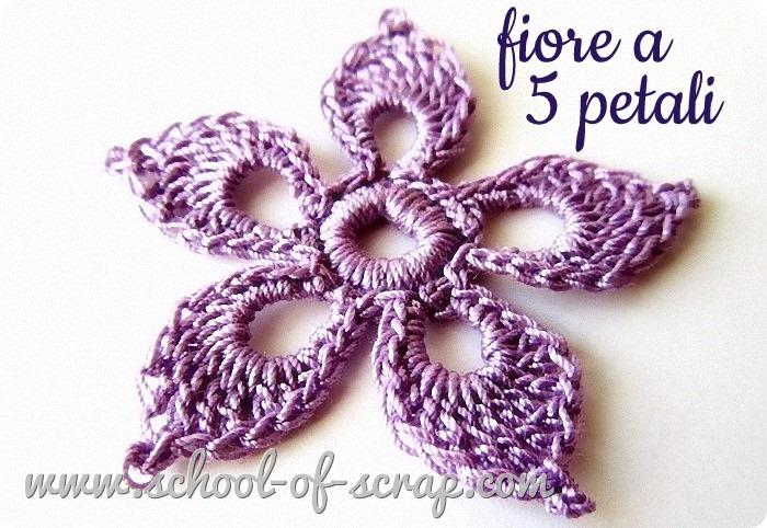 Uncinetto tutorial del fiore meraviglioso a cinque petali