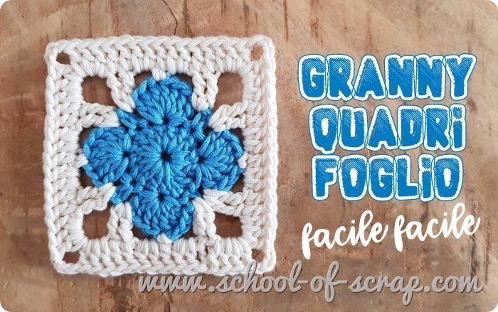 Uncinetto facile - piastrella granny square quadrifoglio
