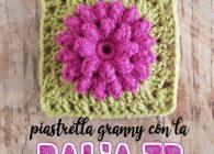Uncinetto facile: piastrella granny square con fiore dalia tridimensionale