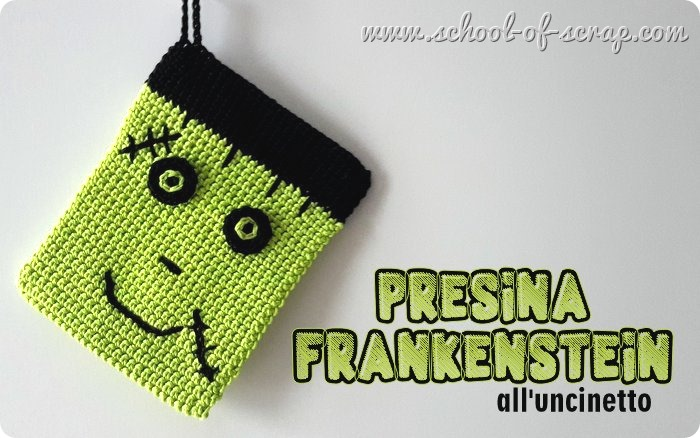 Tutorial presine all'uncinetto Frankenstein per Halloween