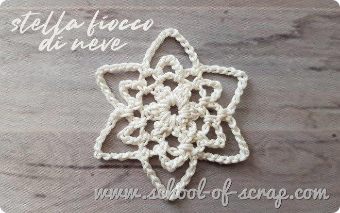 Decorazioni all'uncinetto la stella fiocco di neve facile con lo schema