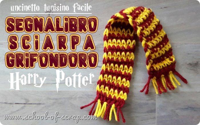 Uncinetto tunisino facile tutorial segnalibro sciarpa Grifondoro Harry Potter