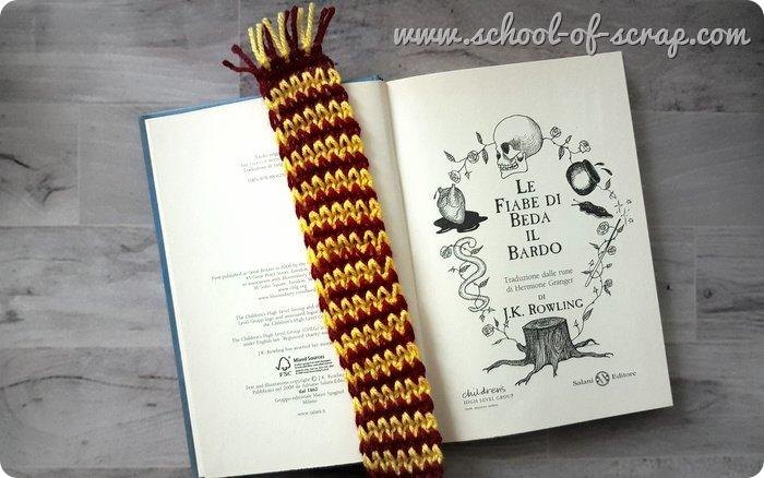 Uncinetto tunisino facile video tutorial segnalibro sciarpa Grifondoro Harry Potter