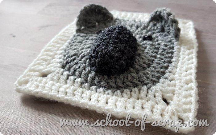 Uncinetto facile mattonelle granny square con animali 3D il koala