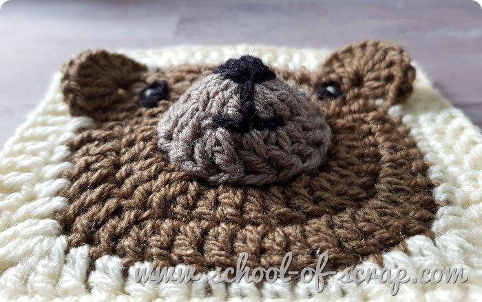 Uncinetto facile piastrella granny con orsetto teddy bear