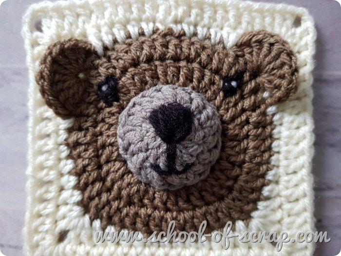Uncinetto facile tutorial piastrella granny con orsetto teddy bear
