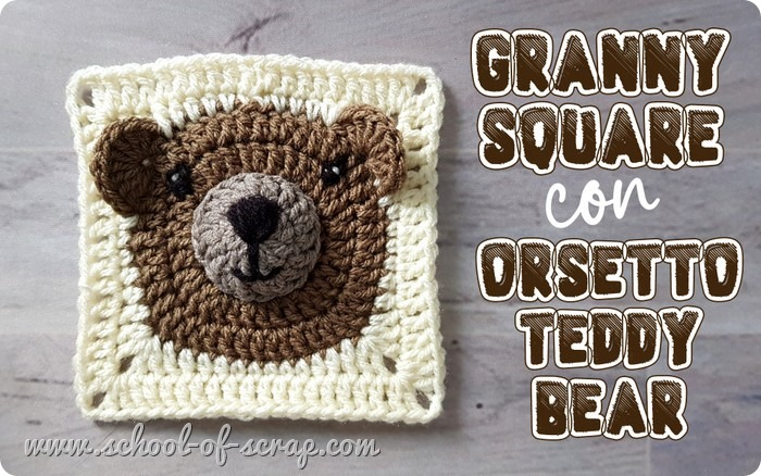 Uncinetto facile video tutorial piastrella granny con orsetto teddy bear