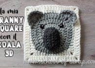 Uncinetto facile, mattonelle granny square con animali 3D: il koala
